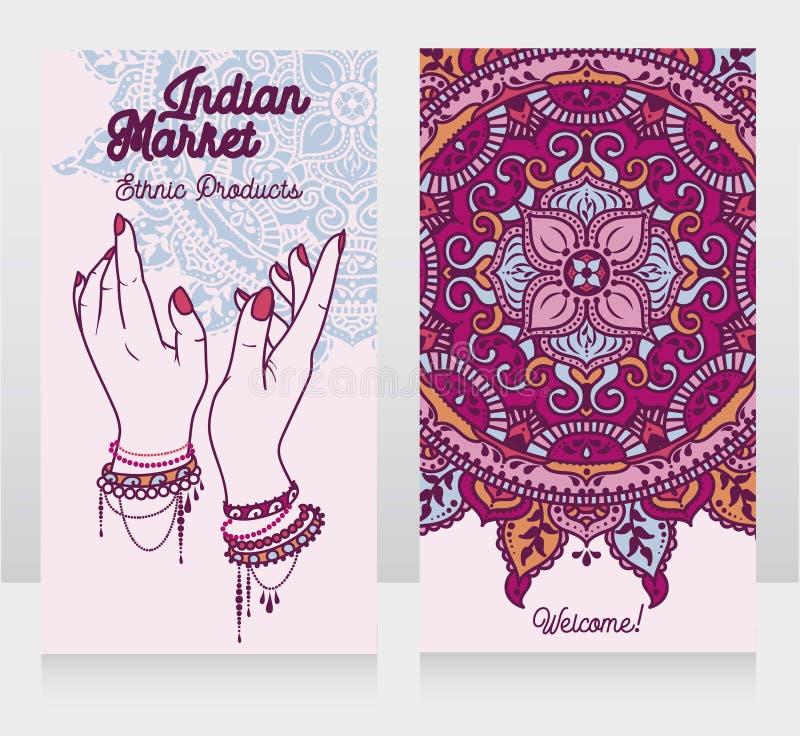 Dos tarjetas para el mercado indio con la mandala tradicional y las manos femeninas ilustración del vector