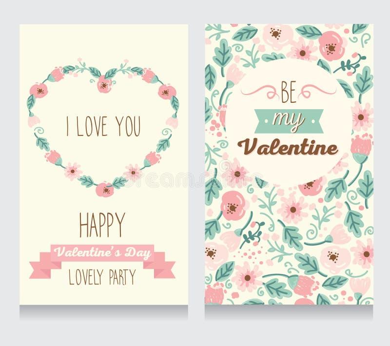 Dos tarjetas para el valentine& x27; partido del día de s ilustración del vector