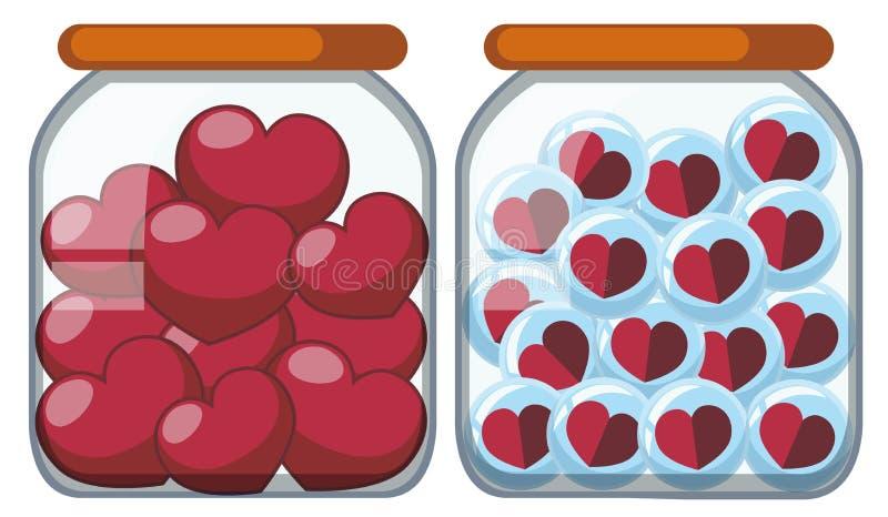 Dos tarros por completo de formas del corazón stock de ilustración