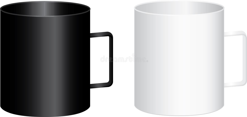 Dos tazas blancos y negros grandes con la manija - vector el ejemplo fotografía de archivo libre de regalías