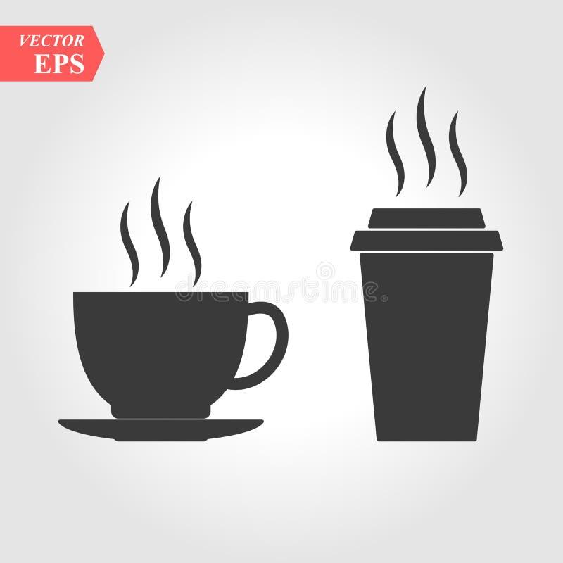 Dos tazas con la bebida caliente Vector de Hygge Icono de la taza de papel en estilo plano Icono de la bebida Alimentos de prepar stock de ilustración