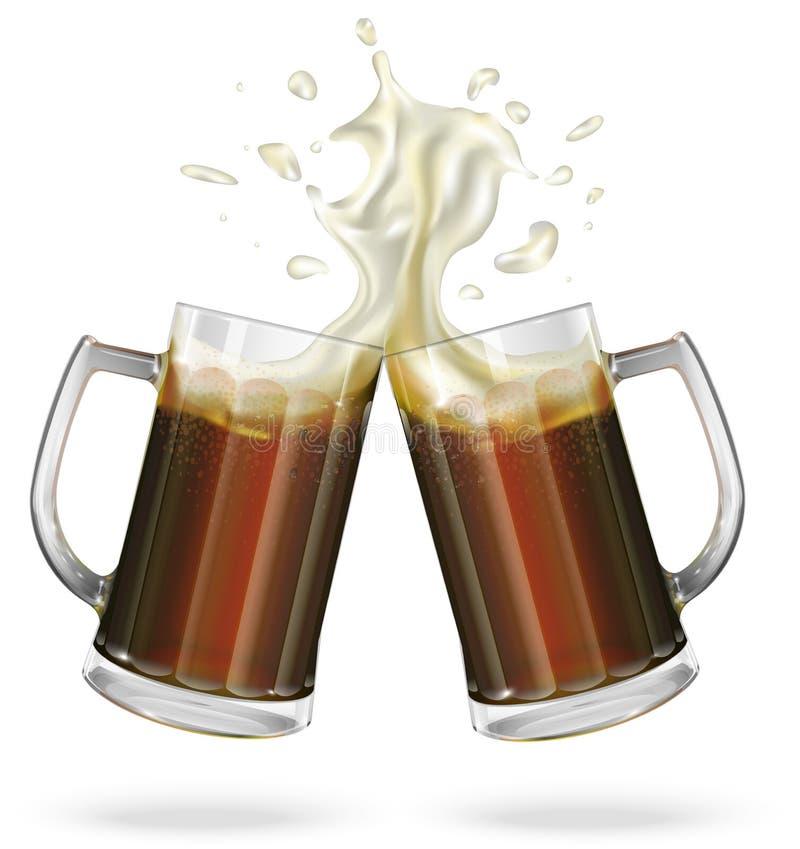 Dos tazas con la cerveza inglesa, cerveza oscura Taza con la cerveza Vector imágenes de archivo libres de regalías