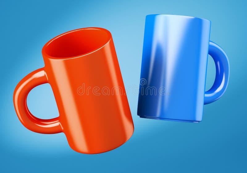 Dos tazas de café stock de ilustración