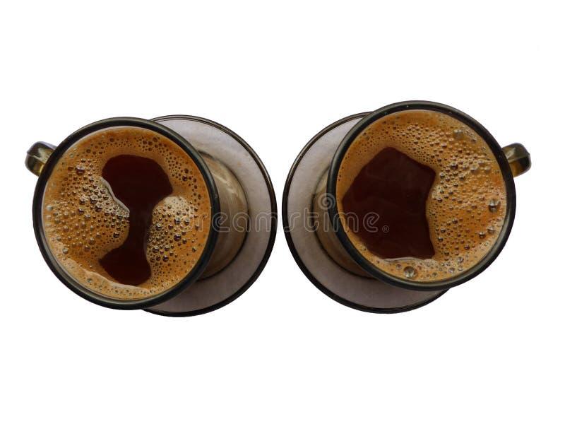 Dos tazas de café llenas imagen de archivo libre de regalías