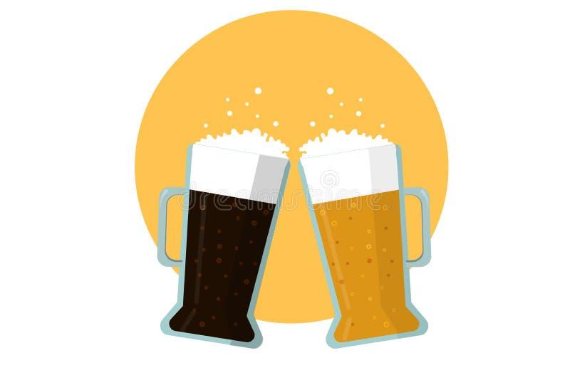 Dos tazas de cerveza: ligero y oscuro Vector plano ilustración del vector