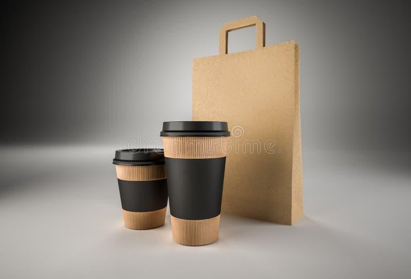 Dos tazas de papel para el café con las etiquetas y la bolsa de papel negras imagen imagenes de archivo