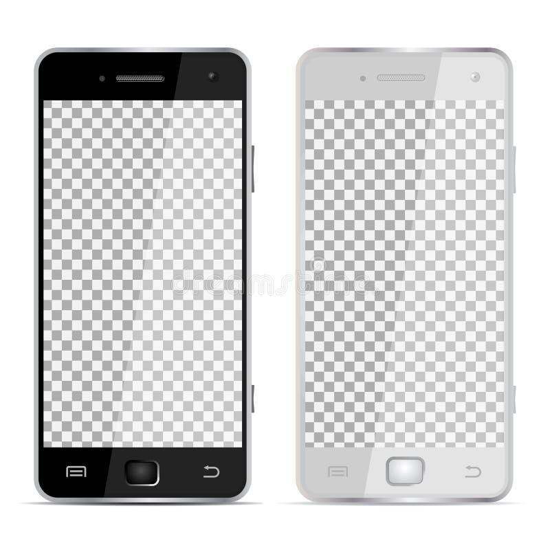 Dos teléfonos - dispositivo realista - ejemplo stock de ilustración