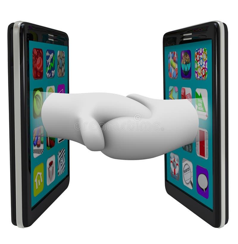 Dos teléfonos elegantes que comparten los datos que sacuden las manos stock de ilustración