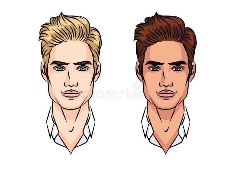 Dos tipos de aspecto de un hombre joven ilustración del vector