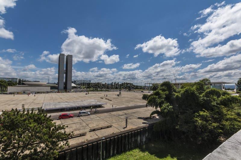 Dos Três Poderes- Brasília de Praça - DF - Brasil imagens de stock