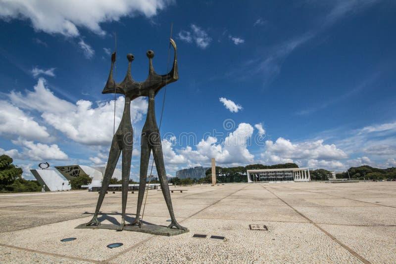 Dos Três Poderes- Brasília de Praça - DF - Brasil imagem de stock