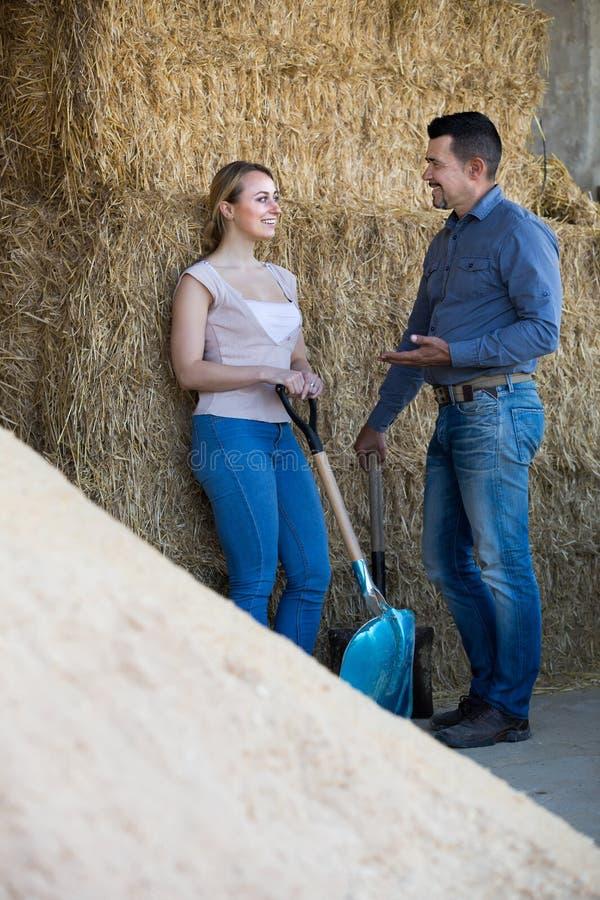 Dos trabajadores de granja jovenes que sostienen las palas grandes imagen de archivo
