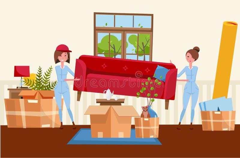 Dos trabajadores de mujeres están llevando un sofá rojo Cajas m?viles en nueva casa Interior de la sala de estar de la casa Pila  libre illustration