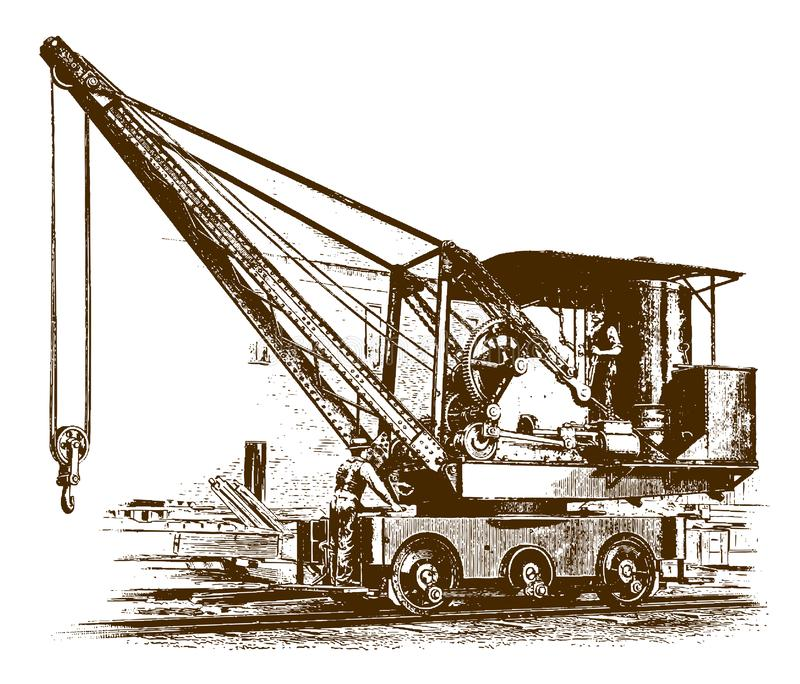 Dos trabajadores que se colocan en una grúa locomotora histórica libre illustration