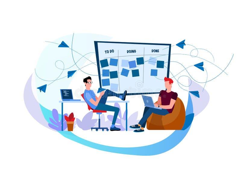 Dos trabajadores trabajan en los ordenadores portátiles ilustración del vector