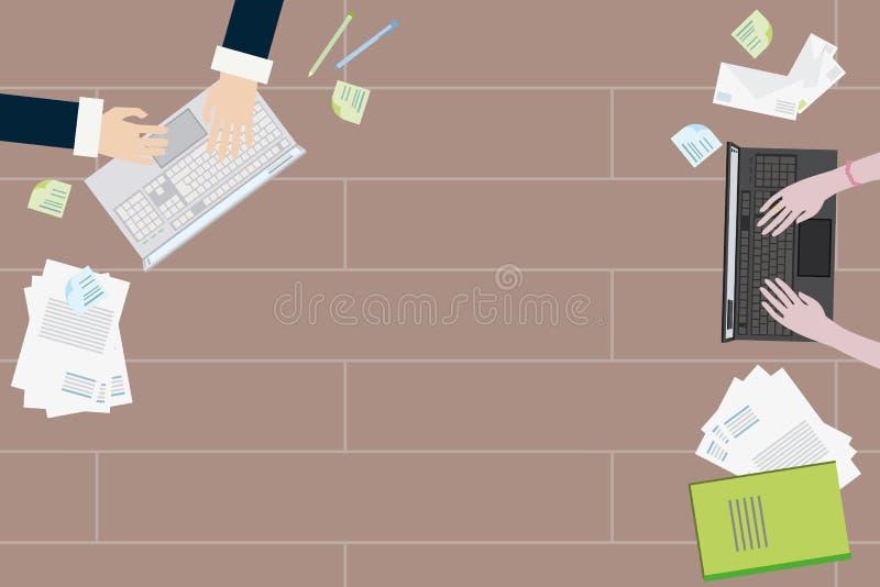 Dos trabajadores trabajan juntos en una tabla en los ordenadores portátiles ilustración del vector