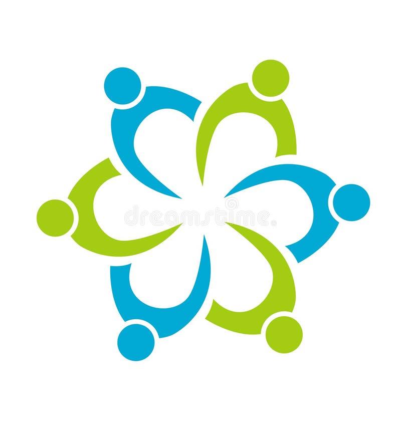 Dos trabalhos de equipa dos povos logotipo do vetor da unidade junto ilustração stock