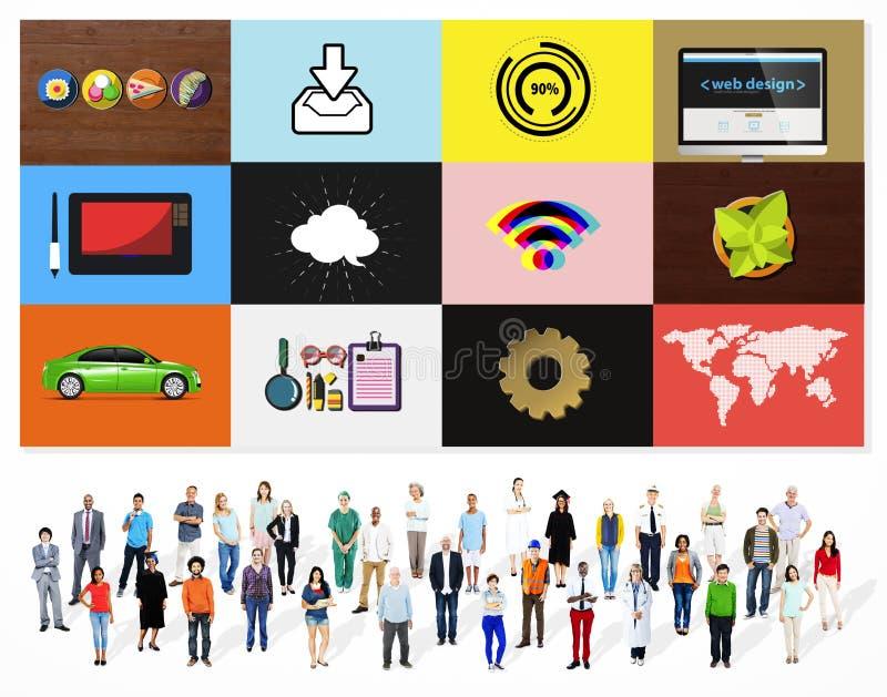 Dos trabalhos em rede sociais dos meios da tecnologia conceito em linha de Digitas ilustração do vetor