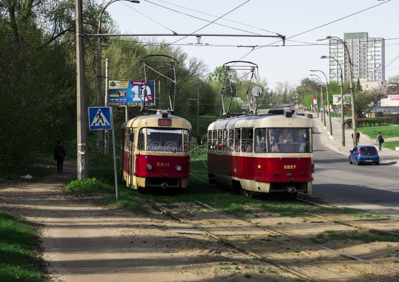 Dos tranvías fotografía de archivo