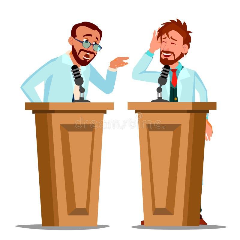 Dos tribuna del doctor que habla Argue Behind The con el micrófono en el vector de la conferencia Ejemplo aislado de la historiet libre illustration