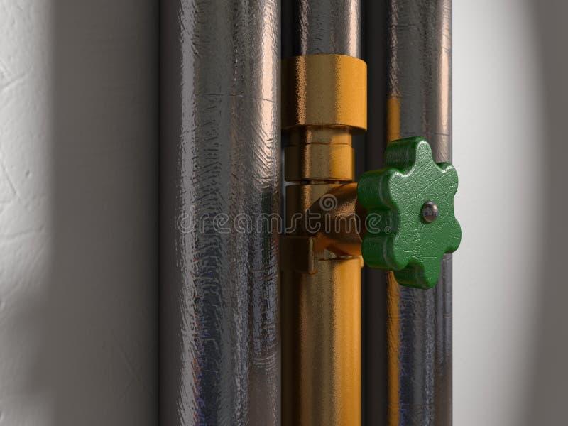 Dos tubos brillantes al lado de una instalación de tuberías de cobre amarillo y de un golpecito rasguñado ilustración del vector