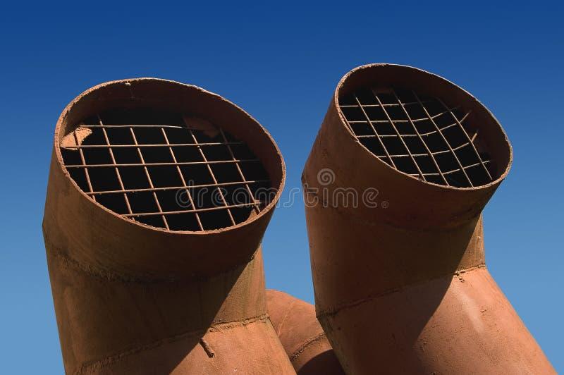 Dos tubos de la ventilación fotografía de archivo