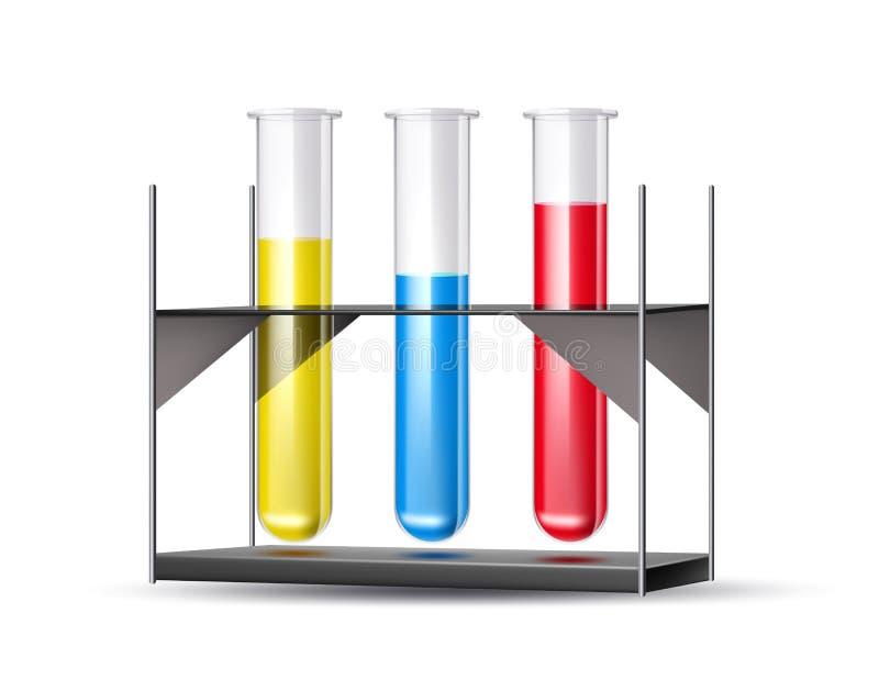 Dos tubos químicos do laboratório do vetor 3d líquido azul ilustração stock