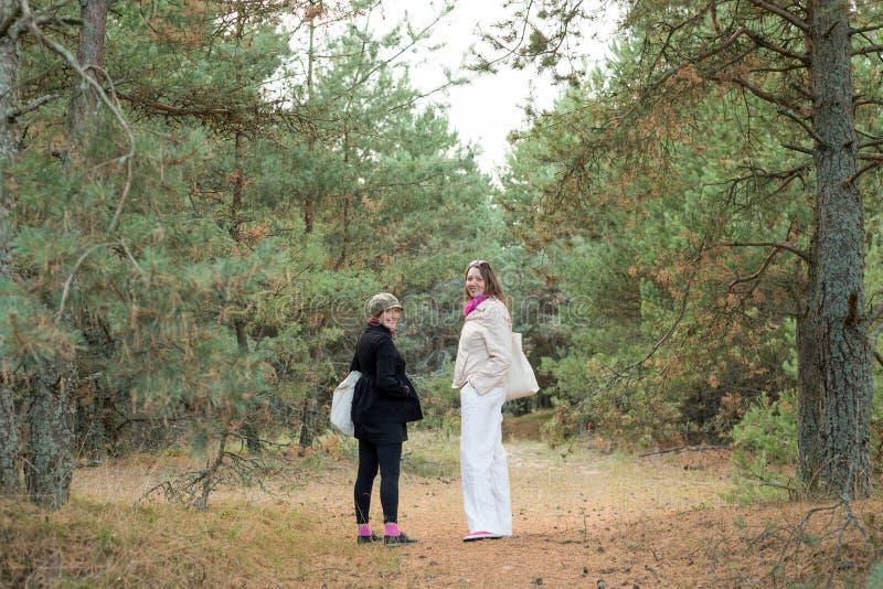 Dos turistas femeninos que caminan en el bosque fotos de archivo