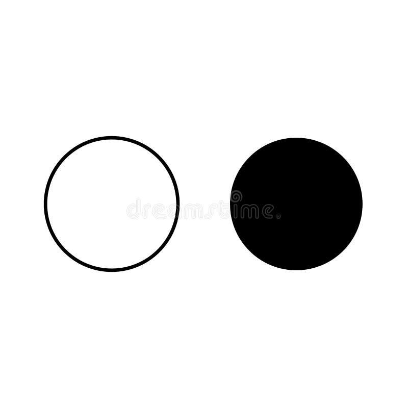 Dos un c?rculo, icono blanco y negro La geometr?a del vector redonde? el pol?gono de la esquina stock de ilustración