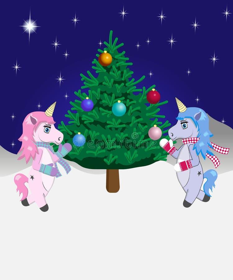 Dos unicornios adornan el árbol de navidad - ejemplo del vector stock de ilustración