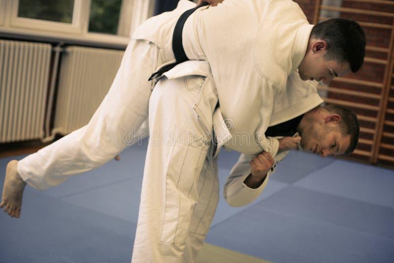 Dos varones jovenes que practican el judo junto imagenes de archivo