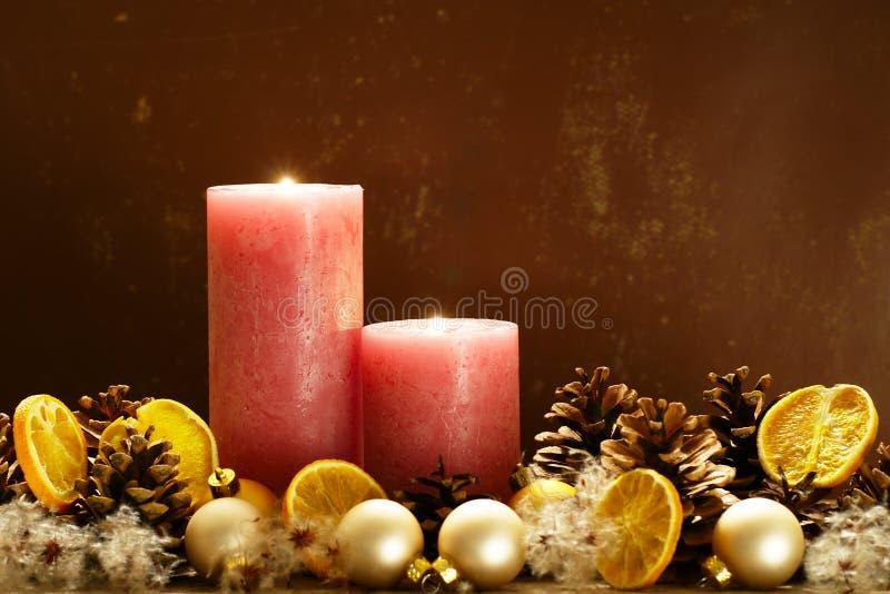 Dos velas de la Navidad fotografía de archivo