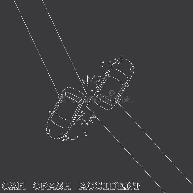 Dos velocidades de levantamiento del coche privado la colisión ilustración del vector