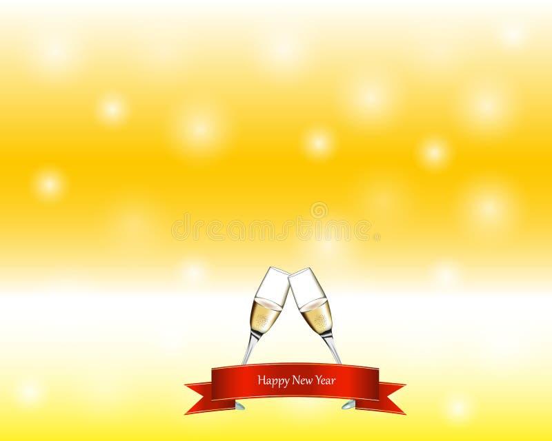 Dos vidrios con champán en fondo amarillo Muestra del Año Nuevo stock de ilustración