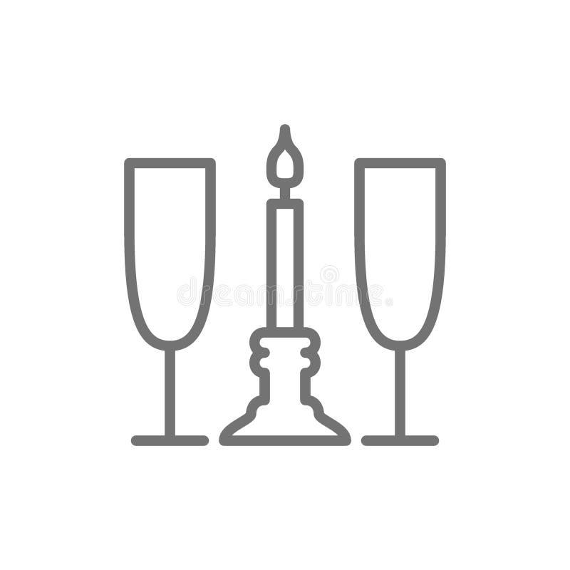 Dos vidrios con la vela, línea romántica icono ilustración del vector