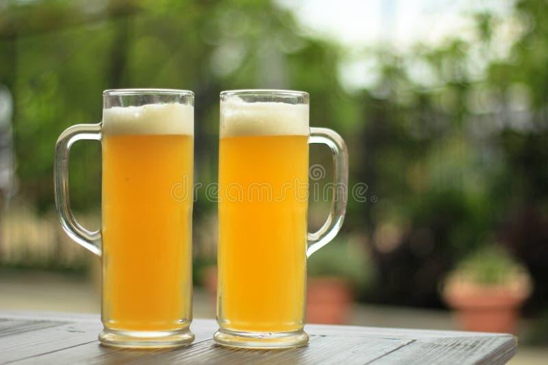 Dos vidrios de cerveza imágenes de archivo libres de regalías