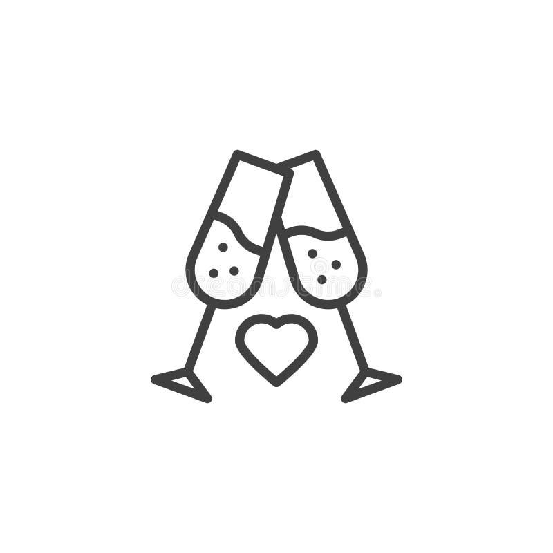 Dos vidrios de champán con la línea de corazón icono libre illustration