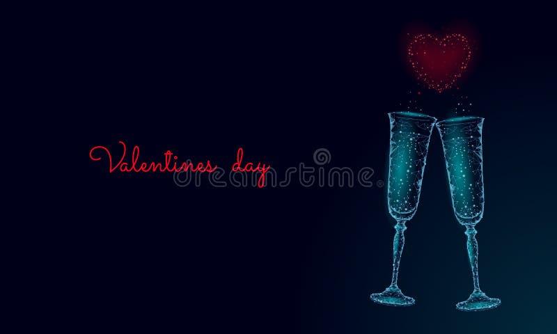 Dos vidrios de champán con las chispas Azul poligonal polivinílico bajo que brilla intensamente que tuesta la fecha romántica del ilustración del vector