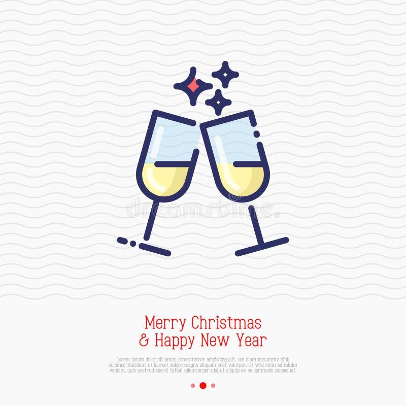 Dos vidrios de champán enrarecen la línea icono stock de ilustración
