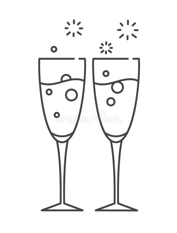 Dos vidrios de champán Icono en la línea estilo libre illustration