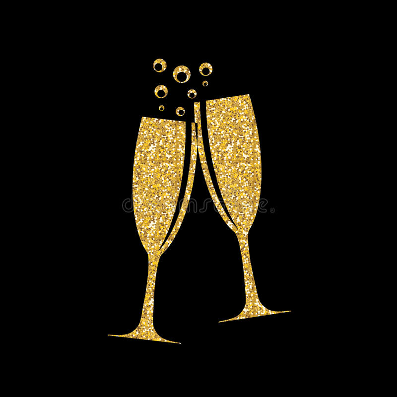 Dos vidrios de Champagne Silhouette Vector Illustration stock de ilustración