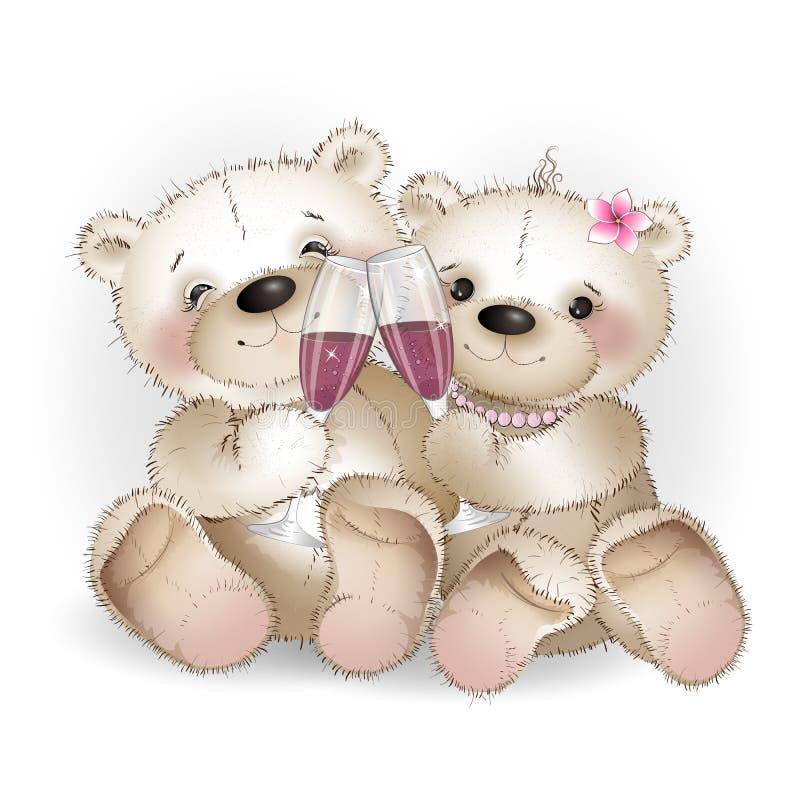 Dos vidrios de consumición del oso de los amantes de vino libre illustration