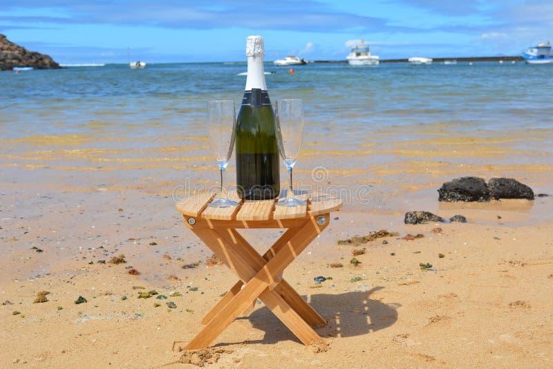 Dos vidrios de la isla de Champagne And Bottle In Paradise imagen de archivo