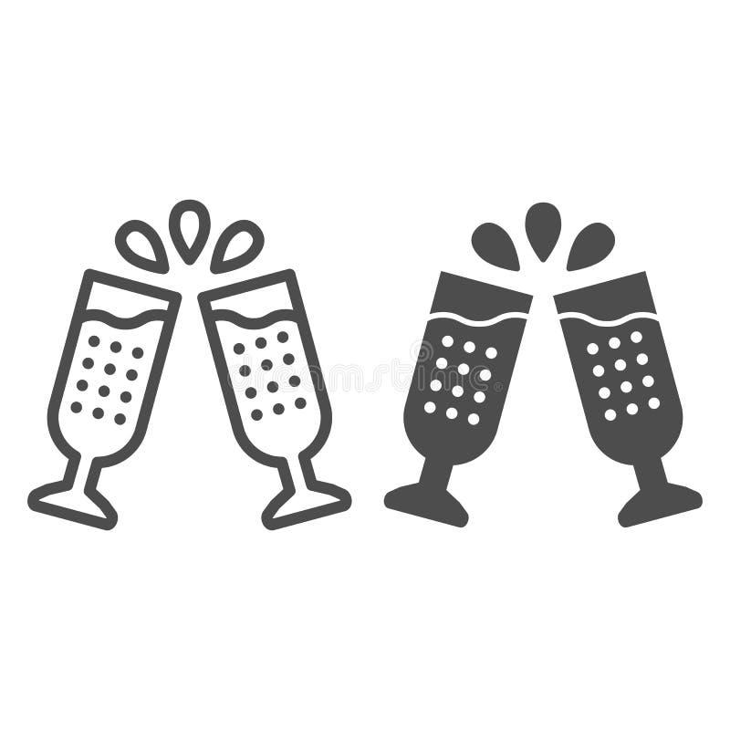 Dos vidrios de la línea del champán y del icono del glyph Ejemplo del vector de los vidrios del tintineo aislado en blanco Estilo ilustración del vector