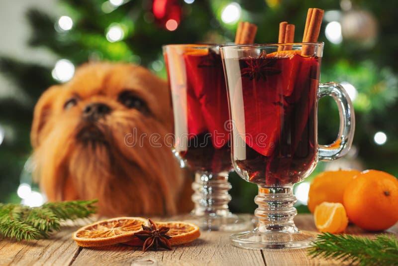 Dos vidrios de la Navidad reflexionaron sobre el vino o el gluhwein con las especias y las rebanadas anaranjadas en la tabla rúst fotos de archivo