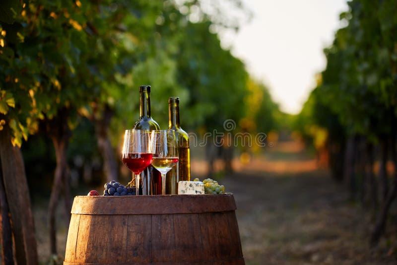 Dos vidrios de vino blanco y rojo con las botellas en la puesta del sol foto de archivo