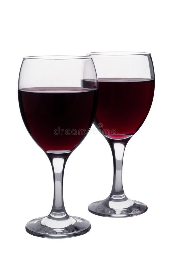 Dos vidrios de vino rojo fotografía de archivo libre de regalías