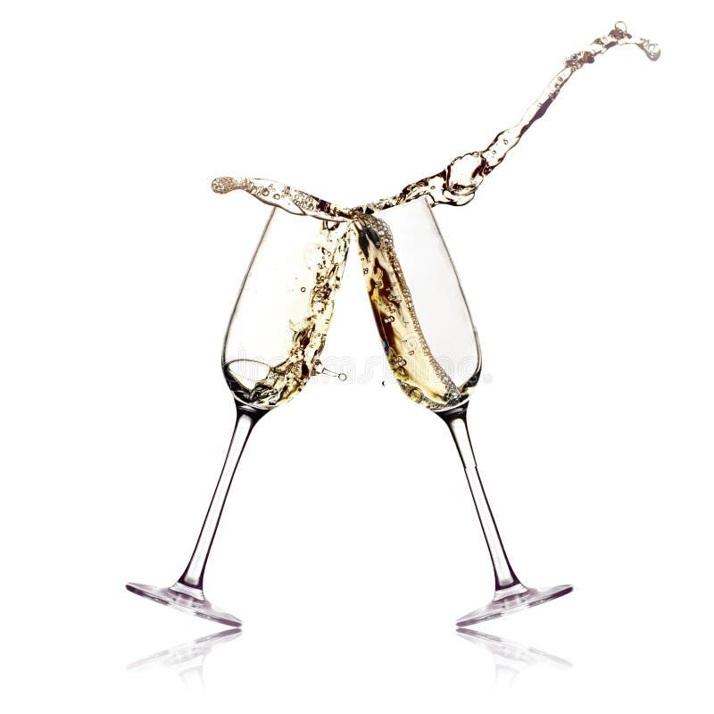Dos vidrios del champán fotografía de archivo libre de regalías