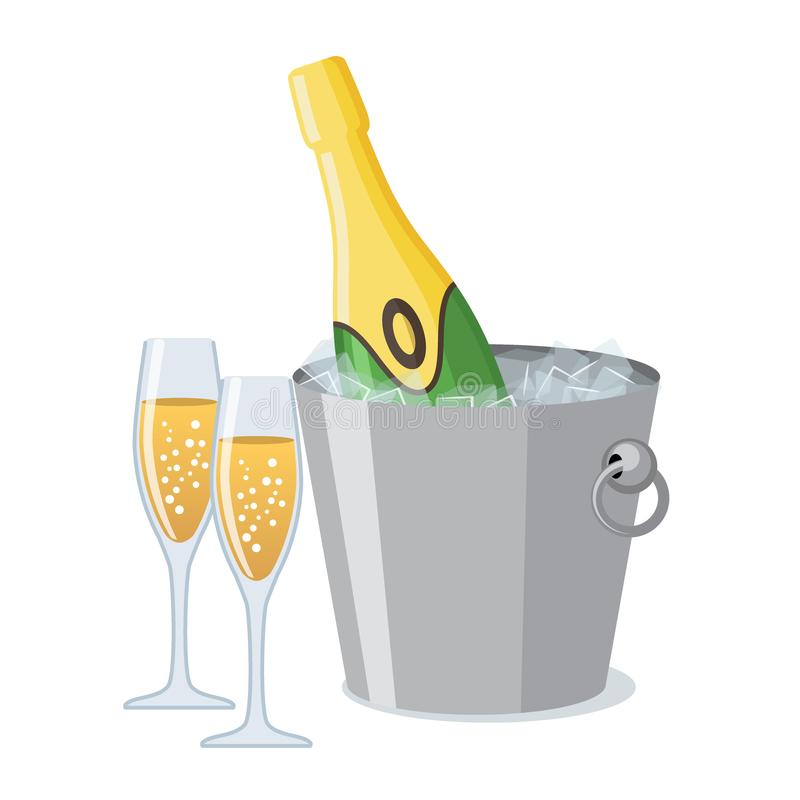 Dos vidrios del champán y botellas de champán en icono del cubo de hielo en estilo plano stock de ilustración