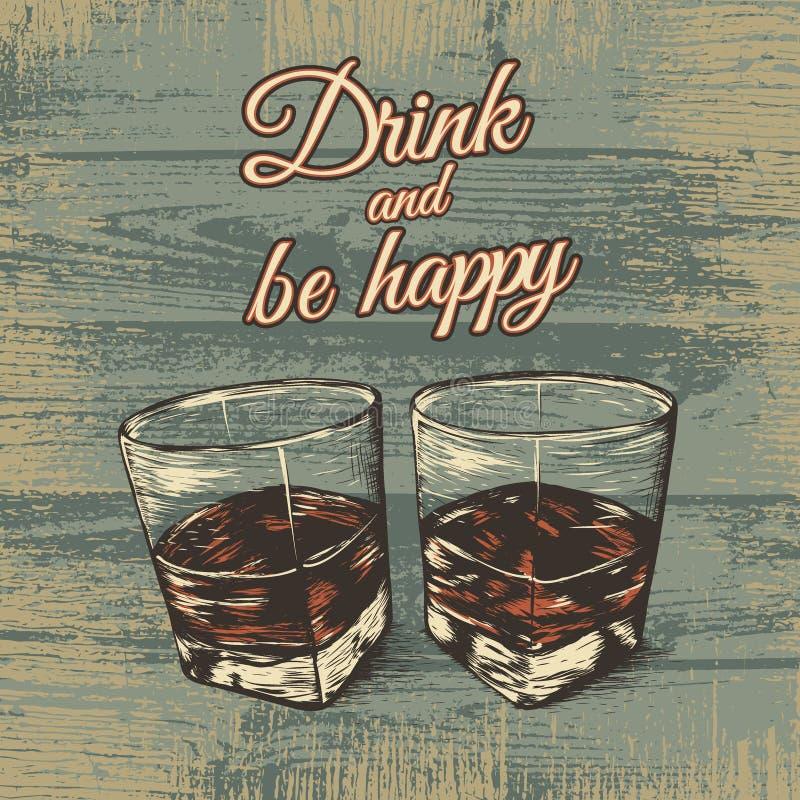 Dos vidrios del ejemplo del vector del alcohol ilustración del vector